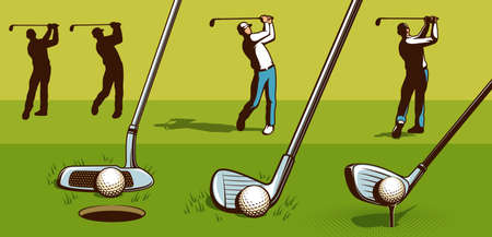 Golf player retro style. Golf clubs vintage vector illustration. Ilustrace