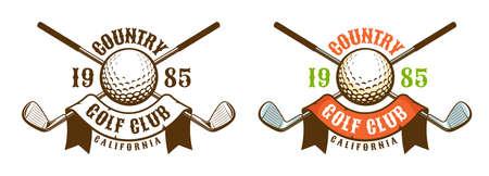 Golf game retro sport emblem. Golf ball and clubs vintage logo. Vector illustration.