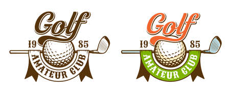 Golf retro sport. Golf ball and club with ribbon - vintage emblem. Vector illustration.