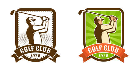 Golfer player with stick retro sport emblem. Golf club vintage badge. Vector illustration.
