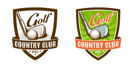 Golf club vintage badge. Golf stick and ball retro emblem.