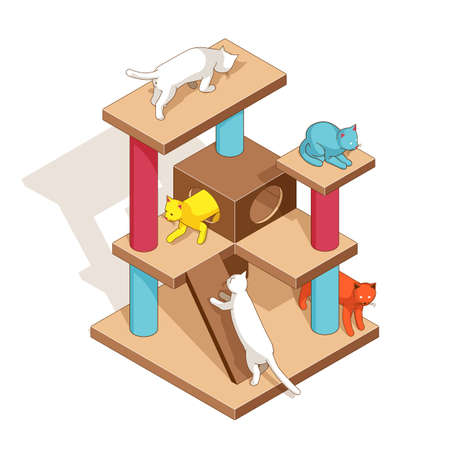 Cats playground isometric. Kittens on cat tower. Фото со стока - 153384078