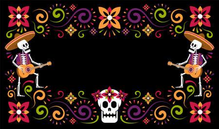 Dia de Muertos mexican halloween floral flyer