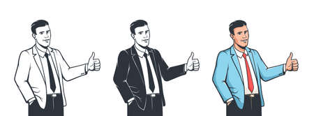 Man in suit thumb up for concept design. Like sign - hand gesture. Фото со стока - 157570694