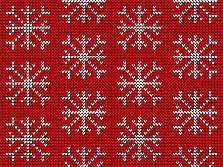 Knitted snowflake in seamless pattern - red background Фото со стока - 158083803