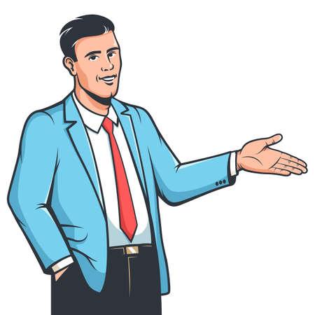Stylish man in suit explane gesture