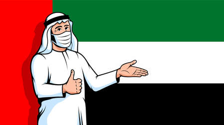 Arab man in fase mask thumbs up on UAE flag background