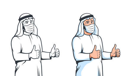 Arabian man in medical mask thumbs up in retro style