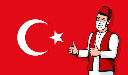 Turkish man in medical mask on Turkey flag background
