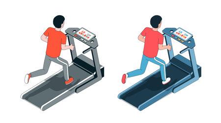 Man on treadmill. Running athlete. Fitness session 向量圖像