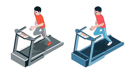 Athlete running on treadmill front view. Limited color palette.