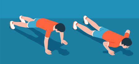 Athletic floor push-up workout. Man pushing up from the floor