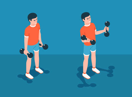 Biceps exercise with dumbbells. Workout training.