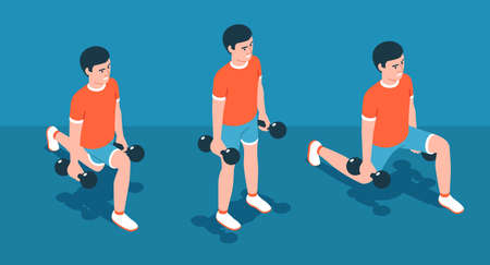 Lunge with dumbbells - Home workout exercise Ilustração