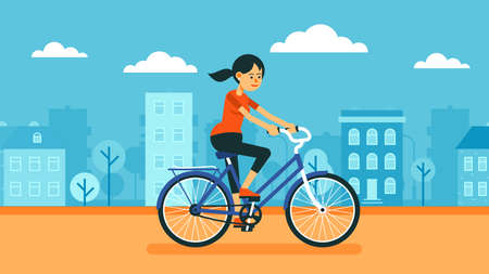 Woman rides a bicycle around the city.