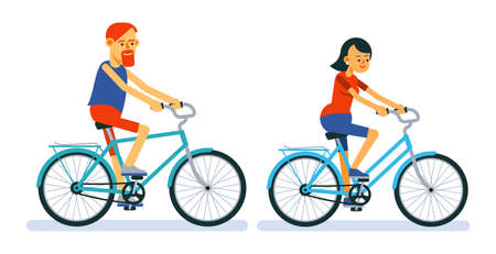 Man and woman ride bicycles. Couple of guy and girl ride on bicycle.