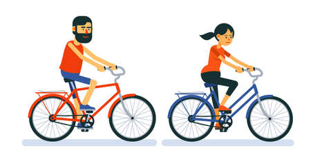 Couple of guy and girl ride on bicycle. Ilustração