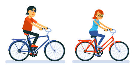 Couple of Man and woman ride on bicycle. Boy and girl cyclist.