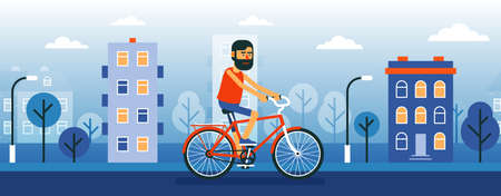 Bearded Man cyclist ride bicycle through the city