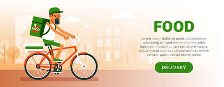 Food delivery man on bike - flyer template.Delivery cyclist.
