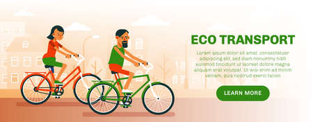 Eco transport flyer. Man and woman ride bicycles