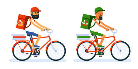 Delivery man on bicycle. Courier cyclist.