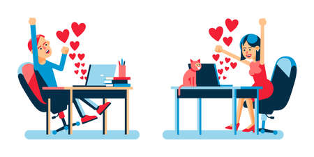 Valentine day online. Online lovers with hearts signs in laptop