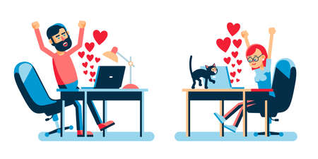 Online lovers with hearts symbols in a laptop. Valentine day online. Ilustração