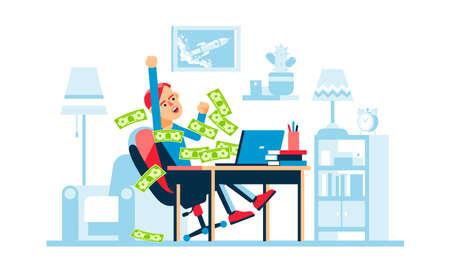 Online winning - a man rejoices Иллюстрация