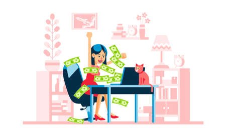 Online winning - happy woman. Money flow from laptop