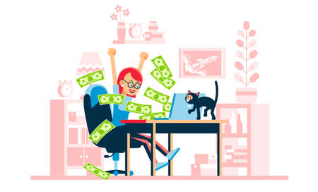 Happy woman - winning online. Money flow from laptop