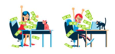 Online money winning woman. Money flow from laptop