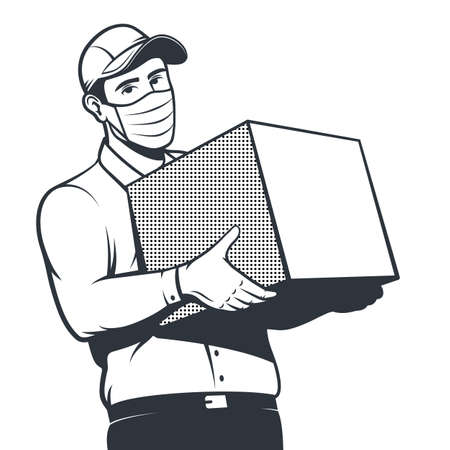Courier during a pandemic delivers the box.