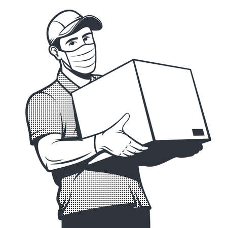 Delivery man in face mask holds the parcel. Иллюстрация