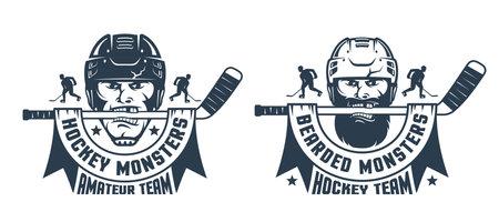 Hockey logo with player head and stick. Иллюстрация
