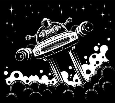 Astronaut pilot a space vehicle - retro poster Иллюстрация