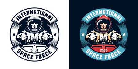 Astronaut retro badge with spaceship pilot.
