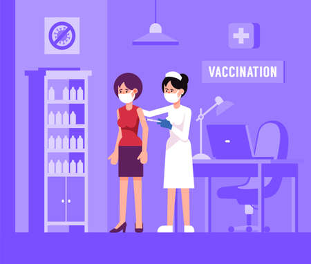 Mass Vaccination in medical clinic.