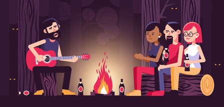 Campfire song with acoustic guitar