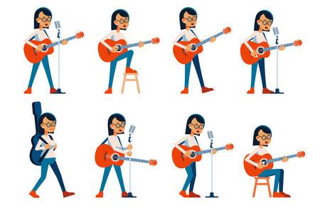 Woman guitarist singing in various poses