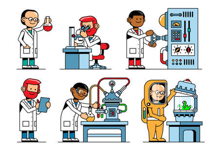 Scientists in chemistry and physics with laboratory equipment
