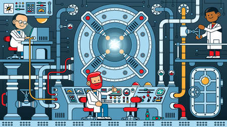 Team of scientists starts reactor in the control room of physics laboratory.