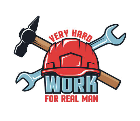 Work logo with hard hat and tools Иллюстрация