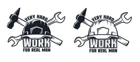 Industrial retro emblem with hard hat hammer and spanner. Иллюстрация