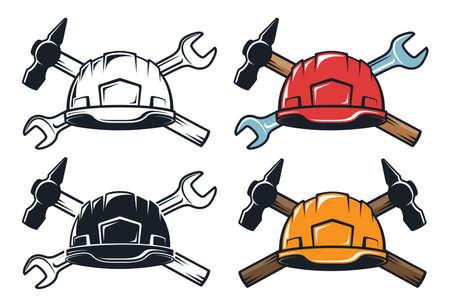 Hard hat crossed hammer and spanner - retro emblem.