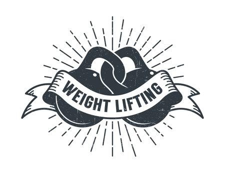 Athletic club vintage logo - two kettlebells Иллюстрация