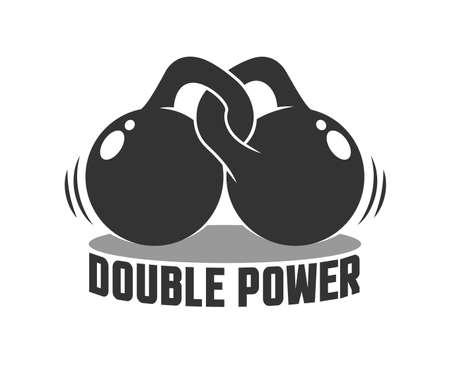 Gym logo with two kettlebells Иллюстрация