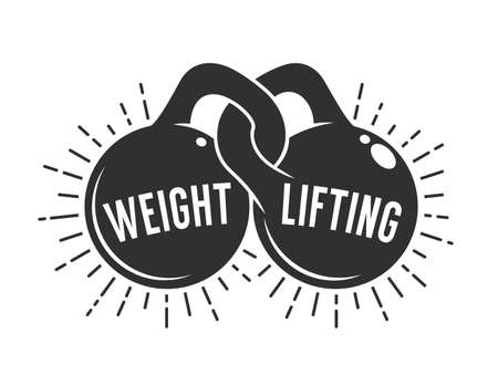 Weght lifting athletic club logo with two kettlebells