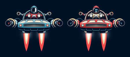 Space pilot controls shuttle Иллюстрация