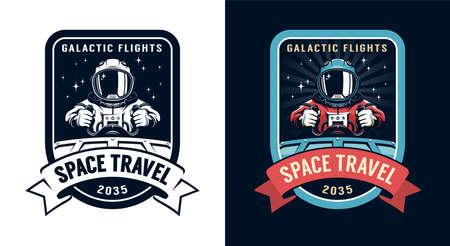 Space badge with spaceship pilot Иллюстрация